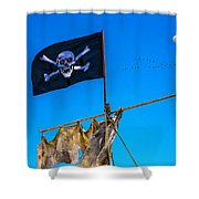 Pirate Flag And Moon Shower Curtain