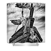 Pirate Ship And Black Flag Shower Curtain by Garry Gay