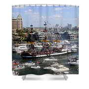 Pirate Ship And Flotilla Shower Curtain