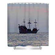 Pirate Ship At Sunset Shower Curtain