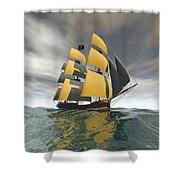Pirate Ship On The High Seas Shower Curtain