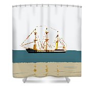 Pirate Ship On The Horizon Shower Curtain