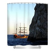 Pirate Ship Sunset Sea Of Cortez Cabo Shower Curtain