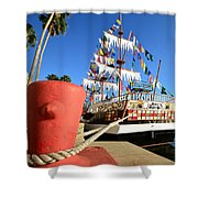 Pirates In Harbor Shower Curtain by David Lee Thompson