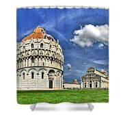 Pisa - Baptistry Duomo And Leaning Tower Shower Curtain