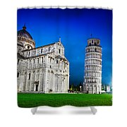 Pisa Cathedral With The Leaning Tower Of Pisa, Tuscany, Italy At Night Shower Curtain