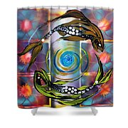 Pisces With Six Fence Lotus Shower Curtain