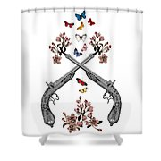 Pistols Wit Flowers And Butterflies Shower Curtain