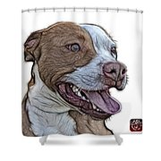 Pit Bull Fractal Pop Art - 7773 - F - Wb Shower Curtain