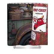Pit Stop Shower Curtain by Richard Rizzo