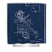 Pitch Fork Fiddle And Drum Patent 1936 - Blue Shower Curtain