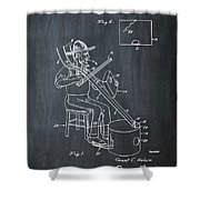 Pitch Fork Fiddle And Drum Patent 1936 - Chalk Shower Curtain