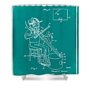 Pitch Fork Fiddle And Drum Patent 1936 - Green Shower Curtain