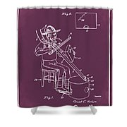 Pitch Fork Fiddle And Drum Patent 1936 - Red Shower Curtain
