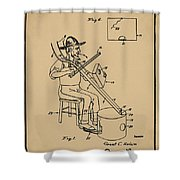 Pitch Fork Fiddle And Drum Patent 1936 - Sepia Shower Curtain