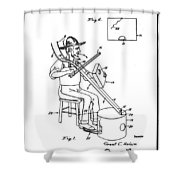 Pitch Fork Fiddle And Drum Patent 1936 - White Shower Curtain