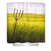 Pitch Fork In Wheat Field Shower Curtain