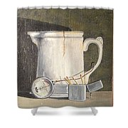 Pitcher, Meter And Matches Still Life Shower Curtain