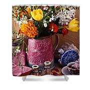 Pitcher Of Flowers Still Life Shower Curtain