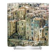 Pitigliano Houses Closeup Grosseto Tuscany Shower Curtain