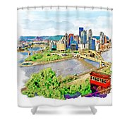 Pittsburgh Aerial View Shower Curtain