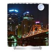 Pittsburgh Full Moon Panoramic Shower Curtain