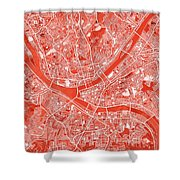 Pittsburgh Map Red Shower Curtain