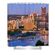 Pittsburgh Pennsylvania Skyline At Dusk Sunset Panorama Shower Curtain