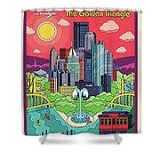 Pittsburgh Poster - Pop Art - Travel Shower Curtain
