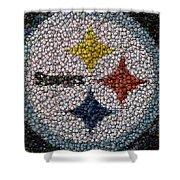 Pittsburgh Steelers  Bottle Cap Mosaic Shower Curtain by Paul Van Scott