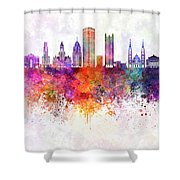 Pittsburgh V2 Skyline In Watercolor Background Shower Curtain