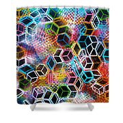 Pixelated Cubes Shower Curtain