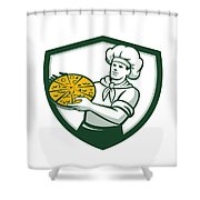 Pizza Chef Holding Pizza Shield Retro Shower Curtain