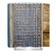 Pizza Menu Florence Italy Shower Curtain