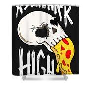 Pizza Skull Shower Curtain
