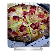 Pizzas Here Shower Curtain