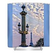 Place De La Concorde View Eiffeltower Shower Curtain