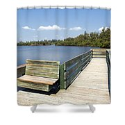 Place For Fishing Or Just Sitting At Round Island In Florida  Shower Curtain