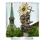 Plague Column And Saint Martin Cathedral Shower Curtain