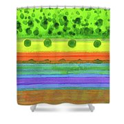 Plain With Red Field Shower Curtain