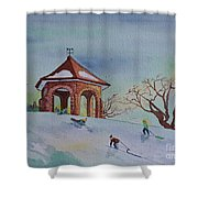 Plaisirs D'hiver Au Parc Macdonald Gardens Shower Curtain