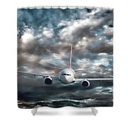 Plane In Storm Shower Curtain