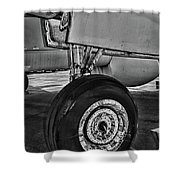 Plane - Landing Gear In Black And White Shower Curtain