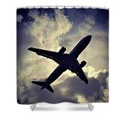 Plane Landing In London Shower Curtain