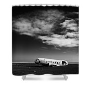 Plane Wreck Black And White Iceland Shower Curtain