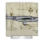 Planes Of Fame A-59 Airacomet - Profile Shower Curtain