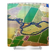 Planet Art Colorful  Midwest Aerial Shower Curtain