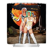 Planet Of The Space Vixens Shower Curtain