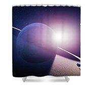 Planet Saturn Sunrise Shower Curtain