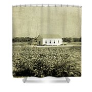 Plantation Church - Sepia Texture Shower Curtain